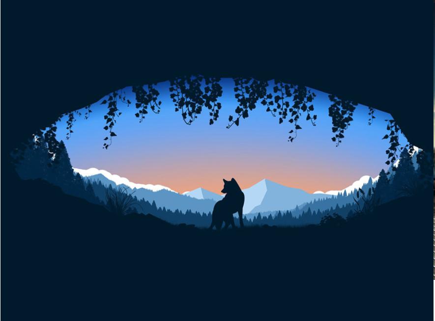 the wolf - minimalist desktop wallpapers